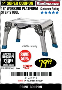 "Harbor Freight Coupon 18"" WORKING PLATFORM STEP STOOL Lot No. 62515/66911 Expired: 6/30/20 - $19.99"