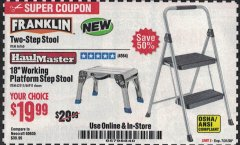 "Harbor Freight Coupon 18"" WORKING PLATFORM STEP STOOL Lot No. 62515/66911 Expired: 7/31/20 - $19.99"