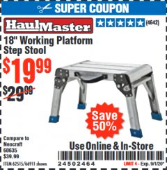"Harbor Freight Coupon 18"" WORKING PLATFORM STEP STOOL Lot No. 62515/66911 Expired: 9/1/20 - $19.99"