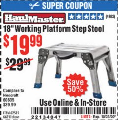 "Harbor Freight Coupon 18"" WORKING PLATFORM STEP STOOL Lot No. 62515/66911 Expired: 10/23/20 - $19.99"