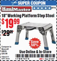 "Harbor Freight Coupon 18"" WORKING PLATFORM STEP STOOL Lot No. 62515/66911 Expired: 9/13/20 - $19.99"
