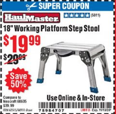 "Harbor Freight Coupon 18"" WORKING PLATFORM STEP STOOL Lot No. 62515/66911 Expired: 11/13/20 - $19.99"