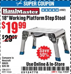 "Harbor Freight Coupon 18"" WORKING PLATFORM STEP STOOL Lot No. 62515/66911 Expired: 11/6/20 - $19.99"