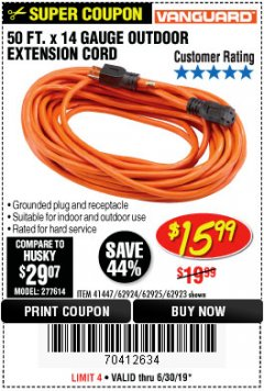 Harbor Freight Coupon 50 FT. x 14 GAUGE OUTDOOR EXTENSION CORD Lot No. 62923 Expired: 6/30/19 - $15.99
