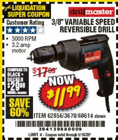 "Harbor Freight Coupon 3/8"" VARIABLE SPEED REVERSIBLE DRILL Lot No. 62856/3670/60614 EXPIRES: 6/30/20 - $11.99"