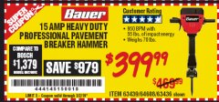 Harbor Freight Coupon BAUER 15 AMP 70 LB. PRO BREAKER HAMMER Lot No. 63439/63436/64608 Expired: 3/2/19 - $399.99