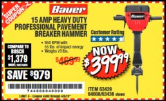 Harbor Freight Coupon BAUER 15 AMP 70 LB. PRO BREAKER HAMMER Lot No. 63439/63436/64608 Expired: 4/5/19 - $399.99
