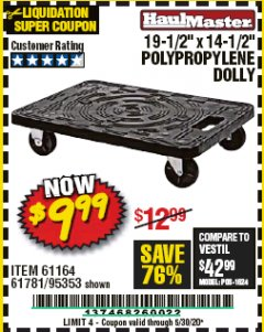"Harbor Freight Coupon 19-1/2"" X 14-1/2"" POLYPROPYLENE DOLLY Lot No. 61164/61781/95353 EXPIRES: 6/30/20 - $9.99"