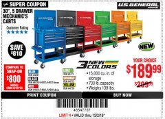 "Harbor Freight Coupon 30"", 5 DRAWER MECHANIC'S CARTS (ALL COLORS) Lot No. 64031/64030/64032/64033/64061/64060/64059/64721/64722/64720 Expired: 12/2/18 - $189.99"