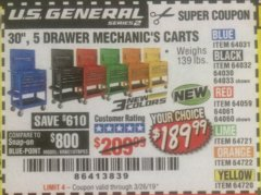 "Harbor Freight Coupon 30"", 5 DRAWER MECHANIC'S CARTS (ALL COLORS) Lot No. 64031/64030/64032/64033/64061/64060/64059/64721/64722/64720 Expired: 3/26/19 - $189.99"