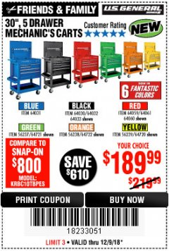 "Harbor Freight Coupon 30"", 5 DRAWER MECHANIC'S CARTS (ALL COLORS) Lot No. 64031/64030/64032/64033/64061/64060/64059/64721/64722/64720 Expired: 12/9/18 - $189.99"