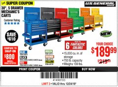 "Harbor Freight Coupon 30"", 5 DRAWER MECHANIC'S CARTS (ALL COLORS) Lot No. 64031/64030/64032/64033/64061/64060/64059/64721/64722/64720 Expired: 12/24/18 - $189.99"