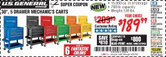 "Harbor Freight Coupon 30"", 5 DRAWER MECHANIC'S CARTS (ALL COLORS) Lot No. 64031/64030/64032/64033/64061/64060/64059/64721/64722/64720 Expired: 4/23/19 - $189.99"