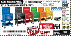 "Harbor Freight Coupon 30"", 5 DRAWER MECHANIC'S CARTS (ALL COLORS) Lot No. 64031/64030/64032/64033/64061/64060/64059/64721/64722/64720 Expired: 5/1/19 - $189.99"