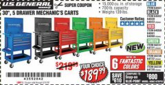 "Harbor Freight Coupon 30"", 5 DRAWER MECHANIC'S CARTS (ALL COLORS) Lot No. 64031/64030/64032/64033/64061/64060/64059/64721/64722/64720 Expired: 5/11/19 - $189.99"