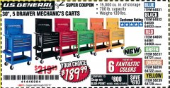 "Harbor Freight Coupon 30"", 5 DRAWER MECHANIC'S CARTS (ALL COLORS) Lot No. 64031/64030/64032/64033/64061/64060/64059/64721/64722/64720 Expired: 5/22/19 - $189.99"