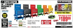 "Harbor Freight Coupon 30"", 5 DRAWER MECHANIC'S CARTS (ALL COLORS) Lot No. 64031/64030/64032/64033/64061/64060/64059/64721/64722/64720 Expired: 2/17/19 - $189.99"