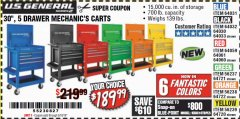 "Harbor Freight Coupon 30"", 5 DRAWER MECHANIC'S CARTS (ALL COLORS) Lot No. 64031/64030/64032/64033/64061/64060/64059/64721/64722/64720 Expired: 5/18/19 - $189.99"