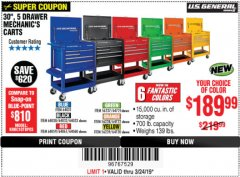 "Harbor Freight Coupon 30"", 5 DRAWER MECHANIC'S CARTS (ALL COLORS) Lot No. 64031/64030/64032/64033/64061/64060/64059/64721/64722/64720 Expired: 3/24/19 - $189.99"