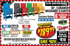 "Harbor Freight Coupon 30"", 5 DRAWER MECHANIC'S CARTS (ALL COLORS) Lot No. 64031/64030/64032/64033/64061/64060/64059/64721/64722/64720 Expired: 6/1/19 - $189.99"