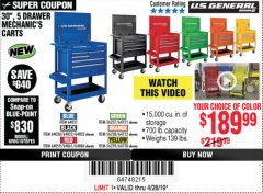 "Harbor Freight Coupon 30"", 5 DRAWER MECHANIC'S CARTS (ALL COLORS) Lot No. 64031/64030/64032/64033/64061/64060/64059/64721/64722/64720 Expired: 4/28/19 - $189.99"