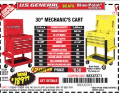 "Harbor Freight Coupon 30"", 5 DRAWER MECHANIC'S CARTS (ALL COLORS) Lot No. 64031/64030/64032/64033/64061/64060/64059/64721/64722/64720 Expired: 5/31/19 - $189.99"