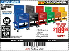"Harbor Freight Coupon 30"", 5 DRAWER MECHANIC'S CARTS (ALL COLORS) Lot No. 64031/64030/64032/64033/64061/64060/64059/64721/64722/64720 Expired: 5/27/19 - $189.99"