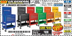 "Harbor Freight Coupon 30"", 5 DRAWER MECHANIC'S CARTS (ALL COLORS) Lot No. 64031/64030/64032/64033/64061/64060/64059/64721/64722/64720 Valid Thru: 10/3/19 - $189.99"