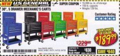 "Harbor Freight Coupon 30"", 5 DRAWER MECHANIC'S CARTS (ALL COLORS) Lot No. 64031/64030/64032/64033/64061/64060/64059/64721/64722/64720/56429 Expired: 7/31/19 - $189.99"