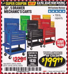 "Harbor Freight Coupon 30"", 5 DRAWER MECHANIC'S CARTS (ALL COLORS) Lot No. 64031/64030/64032/64033/64061/64060/64059/64721/64722/64720/56429 Valid Thru: 8/31/19 - $199.99"