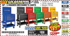 "Harbor Freight Coupon 30"", 5 DRAWER MECHANIC'S CARTS (ALL COLORS) Lot No. 64031/64030/64032/64033/64061/64060/64059/64721/64722/64720/56429 Valid Thru: 10/27/19 - $189.99"