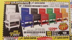 "Harbor Freight Coupon 30"", 5 DRAWER MECHANIC'S CARTS (ALL COLORS) Lot No. 64031/64030/64032/64033/64061/64060/64059/64721/64722/64720/56429 Valid Thru: 11/23/19 - $189.99"