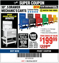 "Harbor Freight Coupon 30"", 5 DRAWER MECHANIC'S CARTS (ALL COLORS) Lot No. 64031/64030/64032/64033/64061/64060/64059/64721/64722/64720/56429 Valid: 9/16/19 9/29/19 - $199.99"