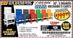 "Harbor Freight Coupon 30"", 5 DRAWER MECHANIC'S CARTS (ALL COLORS) Lot No. 64031/64030/64032/64033/64061/64060/64059/64721/64722/64720/56429 Valid: 9/17/19 11/2/19 - $199.99"