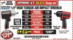 "Harbor Freight Coupon 1/2"" HIGH TORQUE AIR IMPACT WRENCH EARTHQUAKE EQ12XT Lot No. 62891 EXPIRES: 6/15/19 - $129.99"