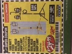 Harbor Freight Coupon FIXED DUAL HEAD HALOGEN SHOP LIGHT Lot No. 66439/60558/61540 EXPIRES: 5/31/19 - $24.99