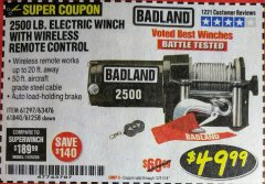 Harbor Freight Coupon 2500 LB. ELECTRIC WINCH Lot No. 61297 Expired: 12/31/18 - $49.99