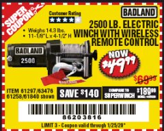 Harbor Freight Coupon 2500 LB. ELECTRIC WINCH Lot No. 61297 Expired: 1/25/20 - $49.99