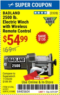 Harbor Freight Coupon 2500 LB. ELECTRIC WINCH Lot No. 61297 Expired: 8/31/20 - $54.99