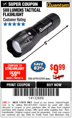 Harbor Freight ITC Coupon QUANTUM 588 LUMENS TACTICAL FLASHLIGHT Lot No. 64799/63934 Expired: 1/10/19 - $9.99