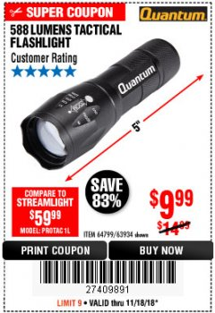 Harbor Freight Coupon QUANTUM 588 LUMENS TACTICAL FLASHLIGHT Lot No. 64799/63934 Expired: 11/18/18 - $9.99