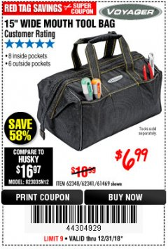 "Harbor Freight Coupon VOYAGER 15"" WIDE MOUTH TOOL BAG Lot No. 62348/62341/61469 Expired: 12/31/18 - $6.99"