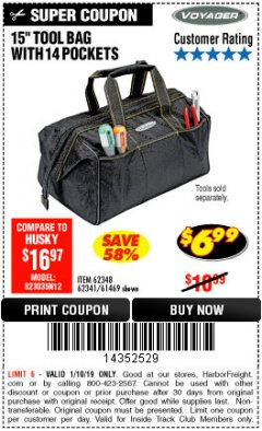 "Harbor Freight ITC Coupon VOYAGER 15"" WIDE MOUTH TOOL BAG Lot No. 62348/62341/61469 Expired: 1/10/19 - $6.99"