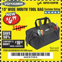 "Harbor Freight Coupon VOYAGER 15"" WIDE MOUTH TOOL BAG Lot No. 62348/62341/61469 Expired: 5/4/19 - $6.99"