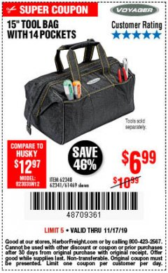 "Harbor Freight Coupon VOYAGER 15"" WIDE MOUTH TOOL BAG Lot No. 62348/62341/61469 Expired: 11/17/19 - $6.99"