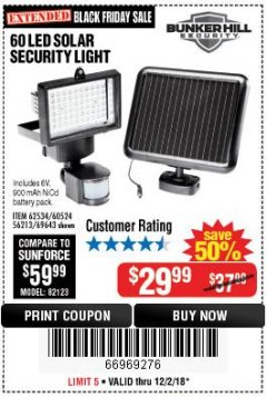 Harbor Freight Coupon 60 LED SOLAR SECURITY LIGHT Lot No. 60524/62534/56213/69643/93661 Expired: 12/2/18 - $29.99