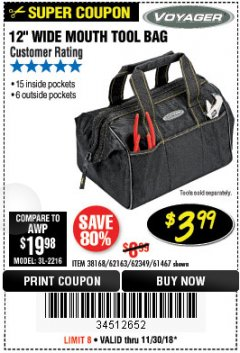"Harbor Freight Coupon VOYAGER 12"" WIDE MOUTH TOOL BAG Lot No. 38168/62163/62349/61467 Expired: 11/30/18 - $3.99"
