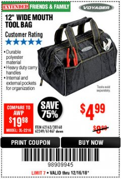 "Harbor Freight Coupon VOYAGER 12"" WIDE MOUTH TOOL BAG Lot No. 38168/62163/62349/61467 Expired: 12/16/18 - $4.99"