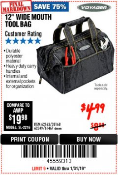 "Harbor Freight Coupon VOYAGER 12"" WIDE MOUTH TOOL BAG Lot No. 38168/62163/62349/61467 Expired: 1/31/19 - $4.99"