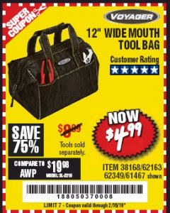 "Harbor Freight Coupon VOYAGER 12"" WIDE MOUTH TOOL BAG Lot No. 38168/62163/62349/61467 Expired: 2/16/19 - $4.99"